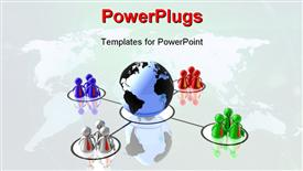 PowerPoint template displaying world partnership 3D depiction isolated in white background