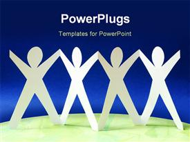 PowerPoint template displaying conceptual depiction of paper - join people in the background.