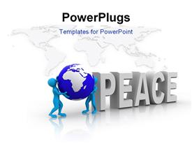 PowerPoint template displaying the word peace and a globe with map in the background