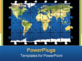 PowerPoint template displaying colored puzzle with world map on pieces