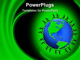 PowerPoint template displaying group of silhouettes running around the globe on abstract green background