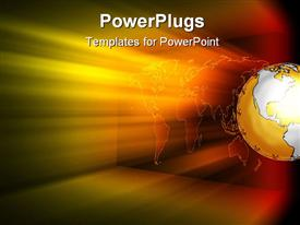 PowerPoint template displaying world map abstract background with colored light beams