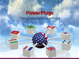 PowerPoint template displaying world servers with more flags in white back ground