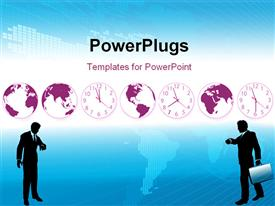 PowerPoint template displaying busy business people hurry to flights or appointments to do global business