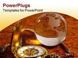 PowerPoint template displaying transparent glass globe beside golden pocket watch
