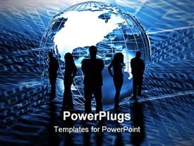 PowerPoint template displaying five black silhouettes of business people standing around an abstract globe on binary code blue background