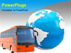 PowerPoint template displaying bus travel around the globe