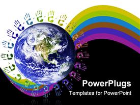 PowerPoint template displaying multi-colored hands joined around the world (NASA imagery)