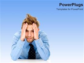 PowerPoint template displaying issues problems and solutions business frustation hard on a blue background