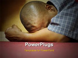PowerPoint template displaying intensity - Heart of Worship and Prayer. A black man is HERE in intense prayer in the background.