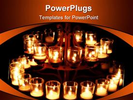 PowerPoint template displaying prayer candles in the dark in the background.