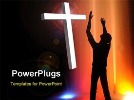 PowerPoint template displaying silhouette of man with arms reaching up to white cross