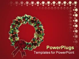 Image and illustration composition of 3D Decorated Christmas Wreath powerpoint theme
