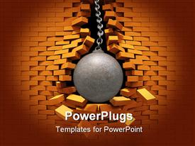 PowerPoint template displaying metallic wrecking ball bursting through red brick wall