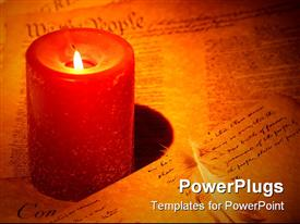 Candle with documents and a feather powerpoint theme