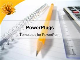 PowerPoint template displaying writing pad with a ruler, a pencil and a calculator
