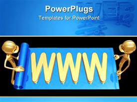 PowerPoint template displaying twp people discussing the web with bluish background
