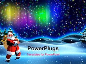 PowerPoint template displaying santa Claus with gift bag in snow field over colorful background