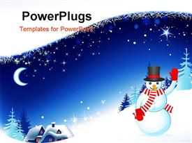 Christmas winter background with village powerpoint theme