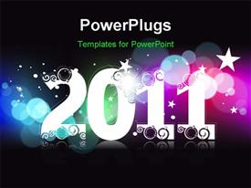 PowerPoint template displaying 2011 background for new year and for Christmas in the background.