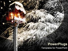 PowerPoint template displaying glowing snow covered lantern next to frosty pine tree