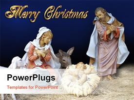 PowerPoint template displaying figurines depicting Mary in manger giving birth to Jesus
