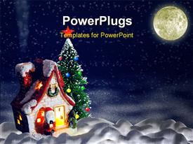 PowerPoint template displaying christmas night. A night landscape with a toy small house and a fur-tree