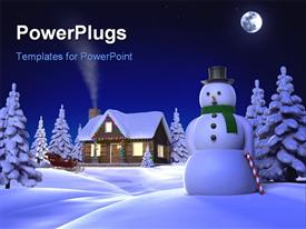PowerPoint template displaying a snowman and a house in its background