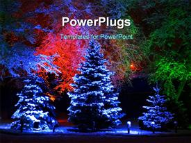 PowerPoint template displaying snow falling on Christmas tree with beautiful lightning and flowers in background