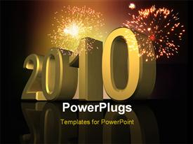 PowerPoint template displaying new year depiction with fireworks in night sky and 3D year 2010