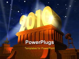 PowerPoint template displaying 3D rendering of year 2010 plated in gold on wooden pedestal
