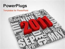 PowerPoint template displaying text representing the year 2011 and the twelve months. Part of a series of calendar concepts