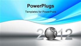 PowerPoint template displaying christmas background with metallic planet and 2012 on white