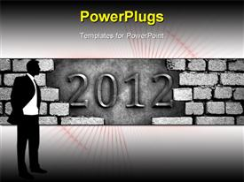 PowerPoint template displaying cracked wall with 2012 carving