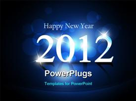 PowerPoint template displaying happy new year background