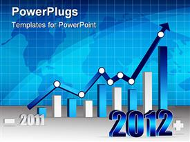 PowerPoint template displaying 2011 2012 Business graph with world background