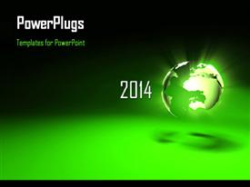 PowerPoint template displaying new year depiction with glowing earth globe on green surface