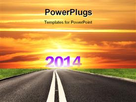 PowerPoint template displaying a road with the new year 2014 at the end