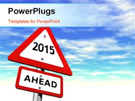 PowerPoint template displaying new year road sign reads 2015 AHEAD over blue cloudy sky