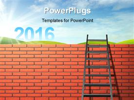PowerPoint template displaying brick wall with a ladder with 2016 on the meadow under blue sky