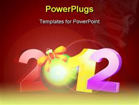 PowerPoint template displaying new year background showing the year 2012