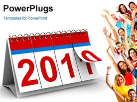 PowerPoint template displaying 2011 year calendar on white background. Isolated 3D depiction in the background.