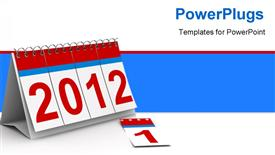 PowerPoint template displaying 2012 year calendar on white background. Isolated 3D depiction