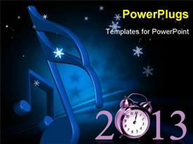 PowerPoint template displaying jumping alarm clock at midnight of new year eve with fireworks