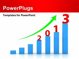 PowerPoint template displaying seven blue colored bars green arrow 2013 figures