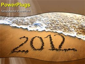 PowerPoint template displaying welcome of the new year 2012 dramatic message in the sand at the beach near the ocean