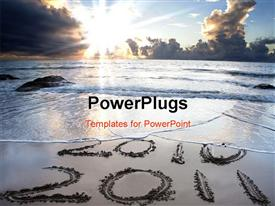 2010 to 2011 on beach with beautiful sunrise powerpoint design layout