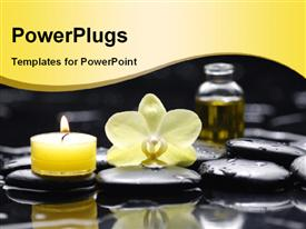 PowerPoint template displaying lighted yellow candle and oil with water droplets on spa stones