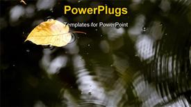 PowerPoint template displaying single yellow leaf floating on water with ripples