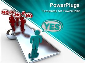 PowerPoint template displaying one person saying yes on seesaw with group of people saying no, negotiations